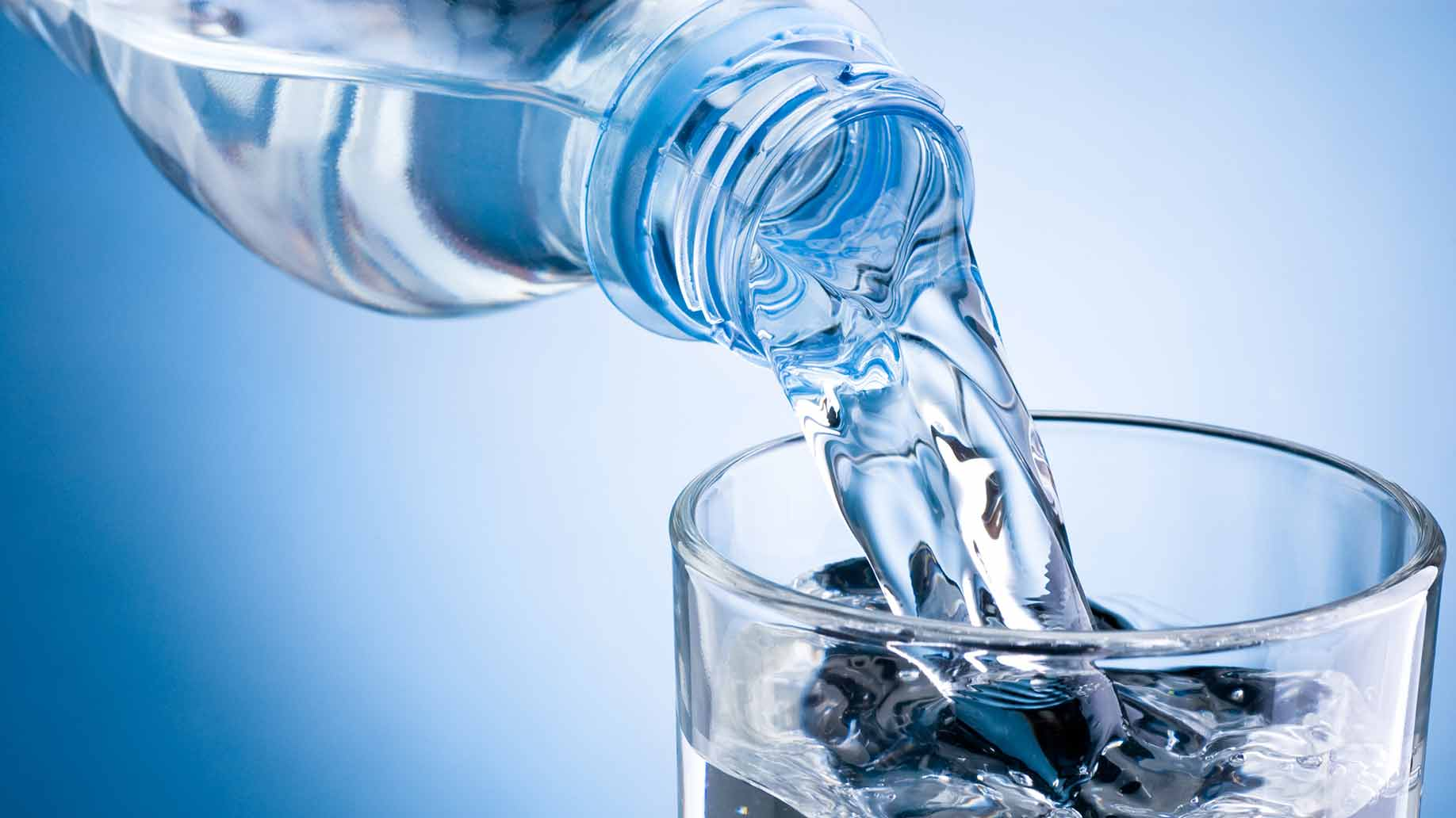 fresh bottled drinking water to flush your system