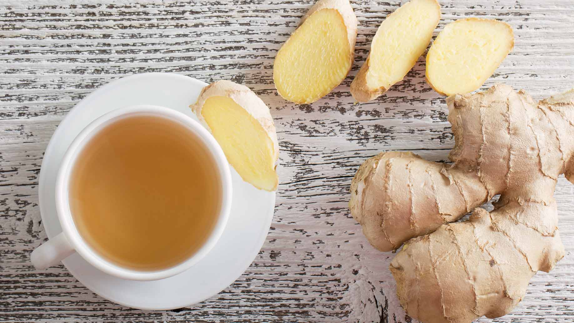 ginger sliced roots and fresh tea