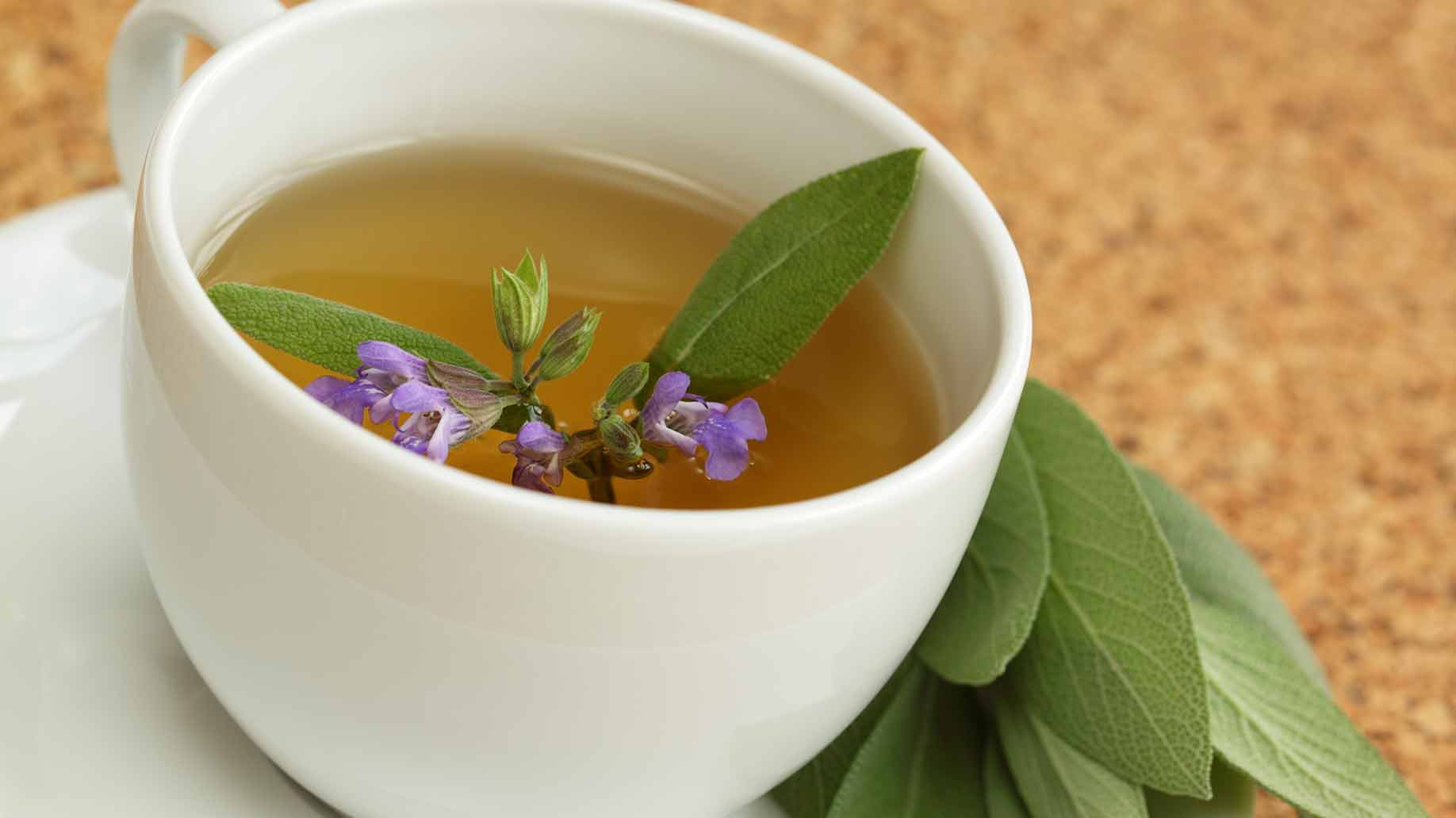 l theanine tea with leaves and flowers
