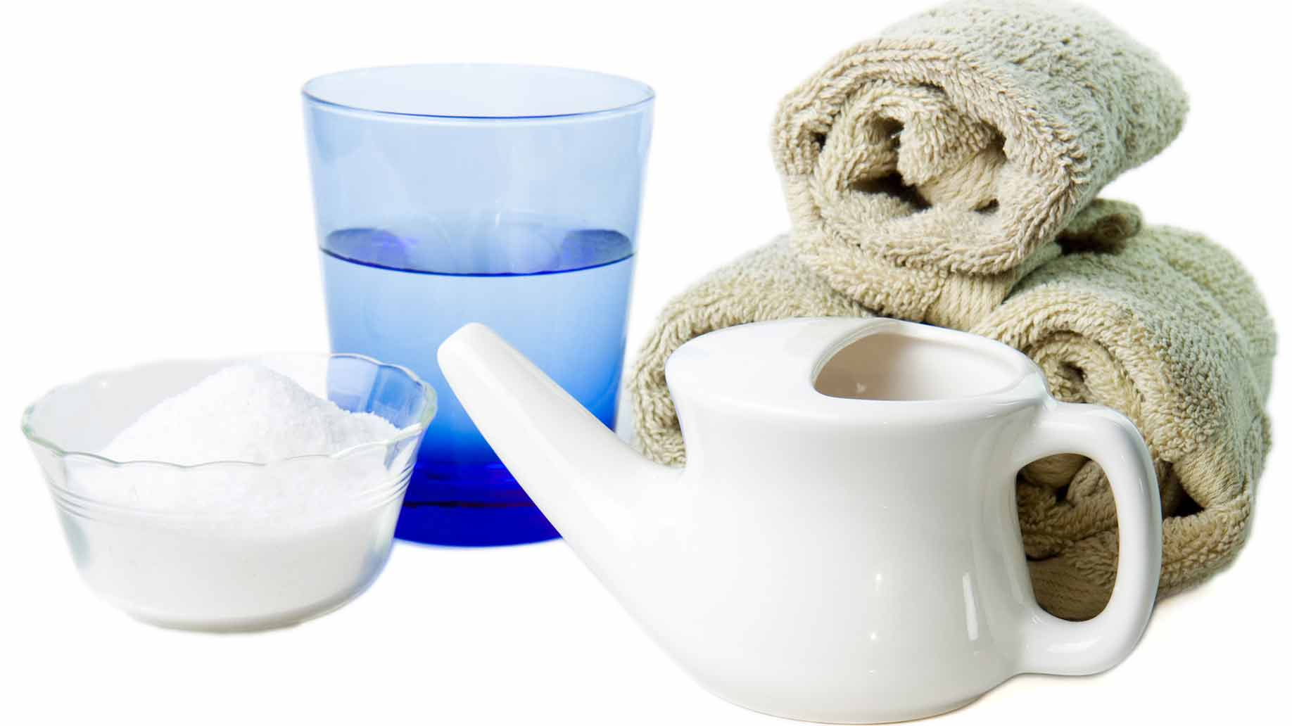 nasal rinse netty pot with saline salt water sinus irrigation