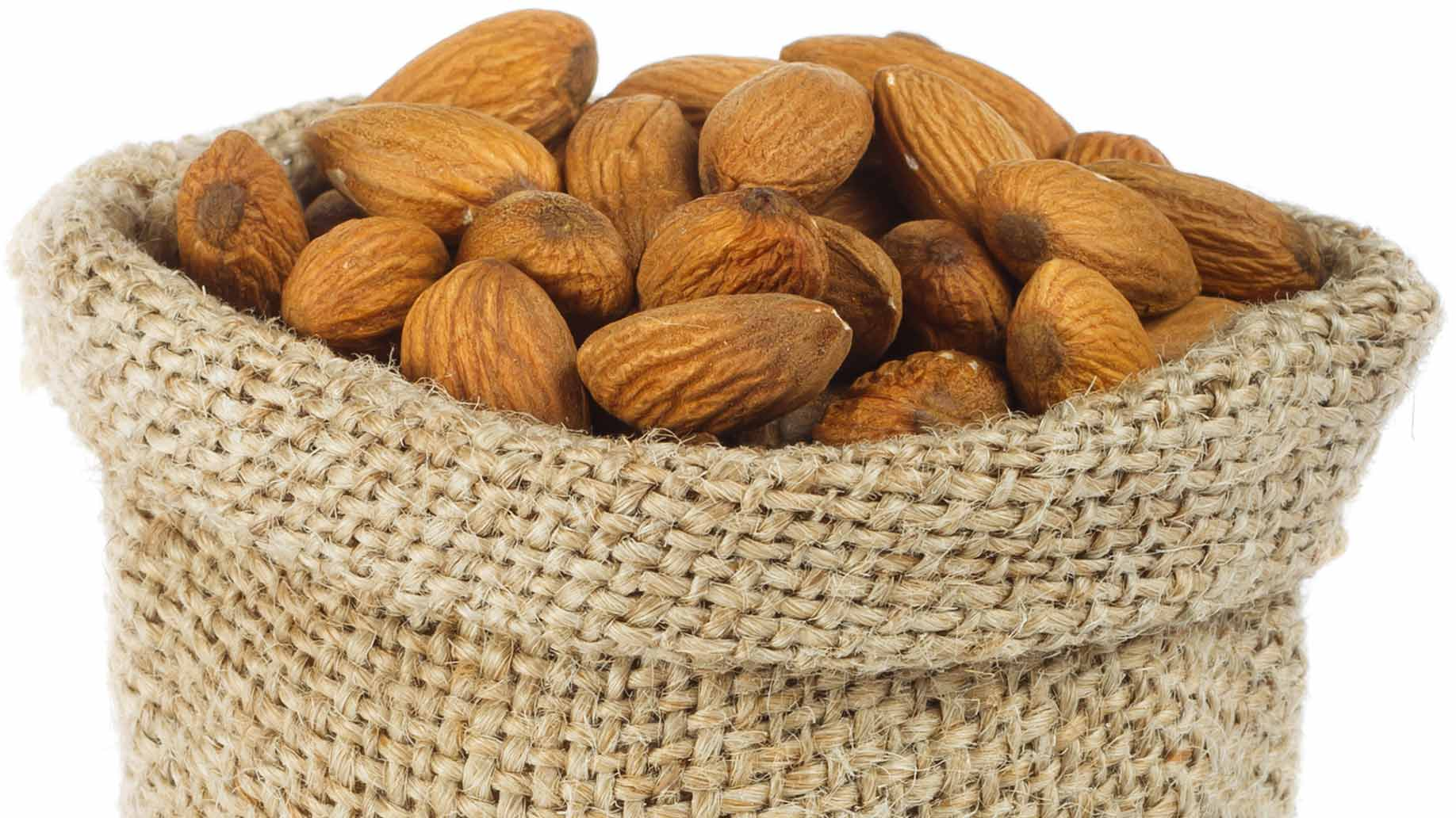 almonds whole brown bag raw