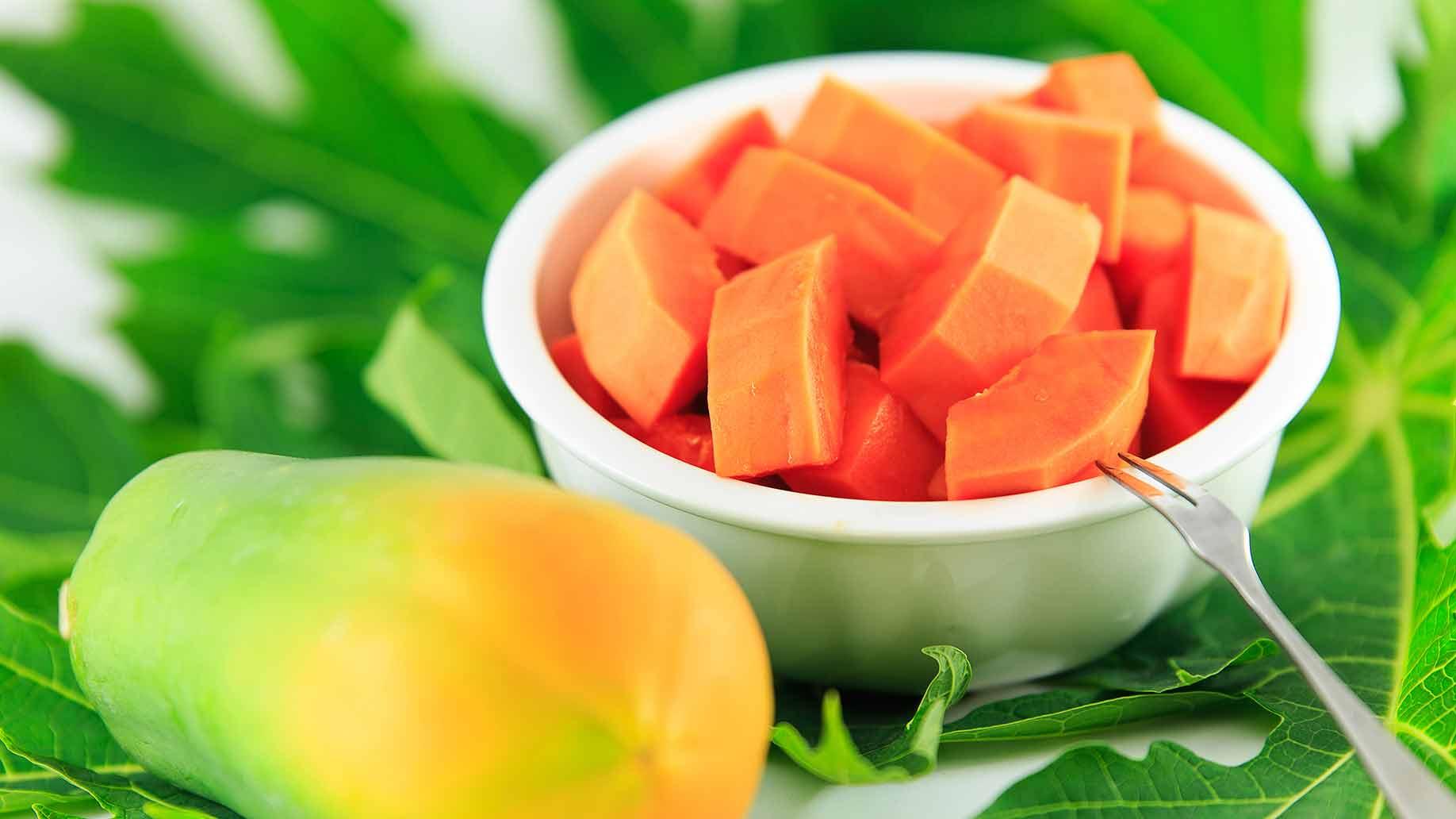 papaya fresh sliced fruit orange with seeds