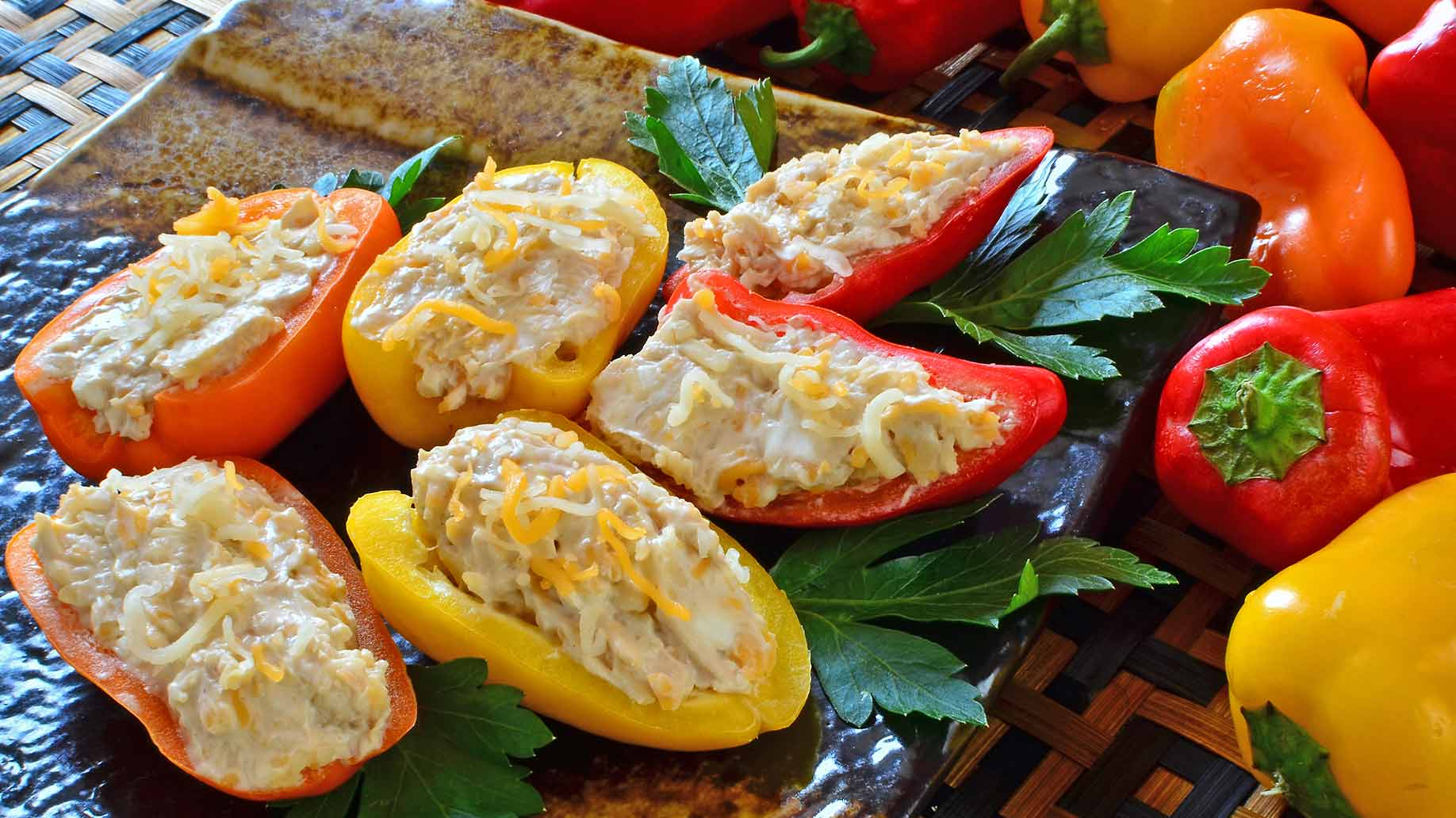 mini stuffed peppers cheese spinach brown rice healthy snacks ideas