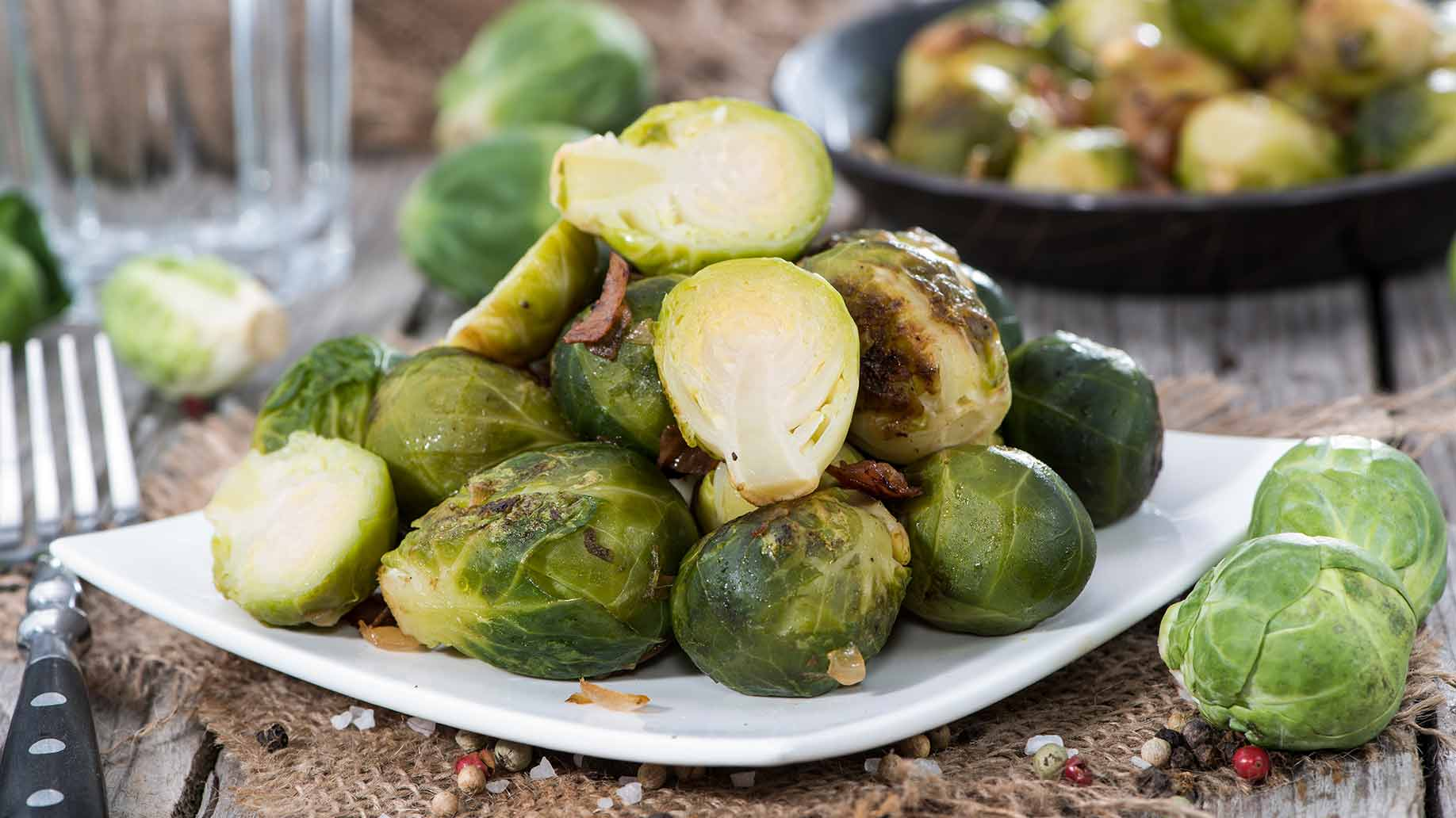 roasted brussels sprouts salt pepper ham healthy snack ideas